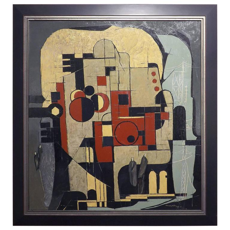 Hugo Mohl 'Industrie' Mid-Century Abstract Painting, Dated 1968