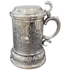 20th Century Italian Sterling Silver Tankard Victorian revival ceased, embossed