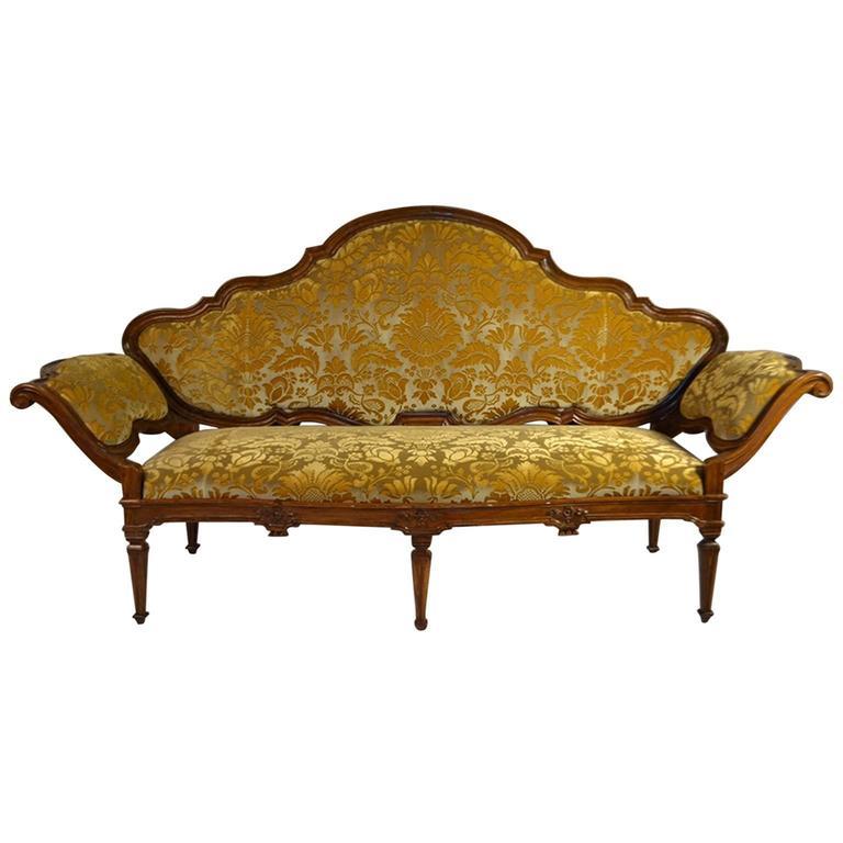 Restored 18th Century Italian Venetian Carved Walnut Sofa For Sale ...