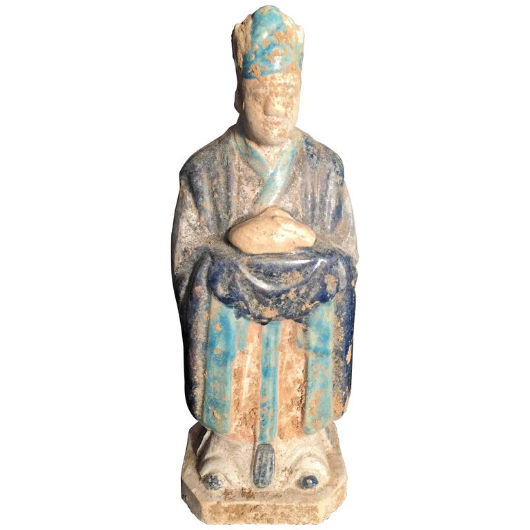 Important Ancient Chinese Zodiac Figure Holding a Rabbit, Ming Dynasty 1368-1644 For Sale