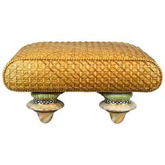 Mackenzie Childs Vintage Ottoman with Ceramic Polychrome Feet and Woven Cane