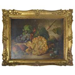 "19th Century Oil Painting, ""Still Life with Grapes and Peaches"""
