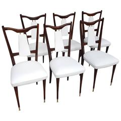 Six Italian White Leather Dining Room Chairs Mid-Century Period 1960s Restored