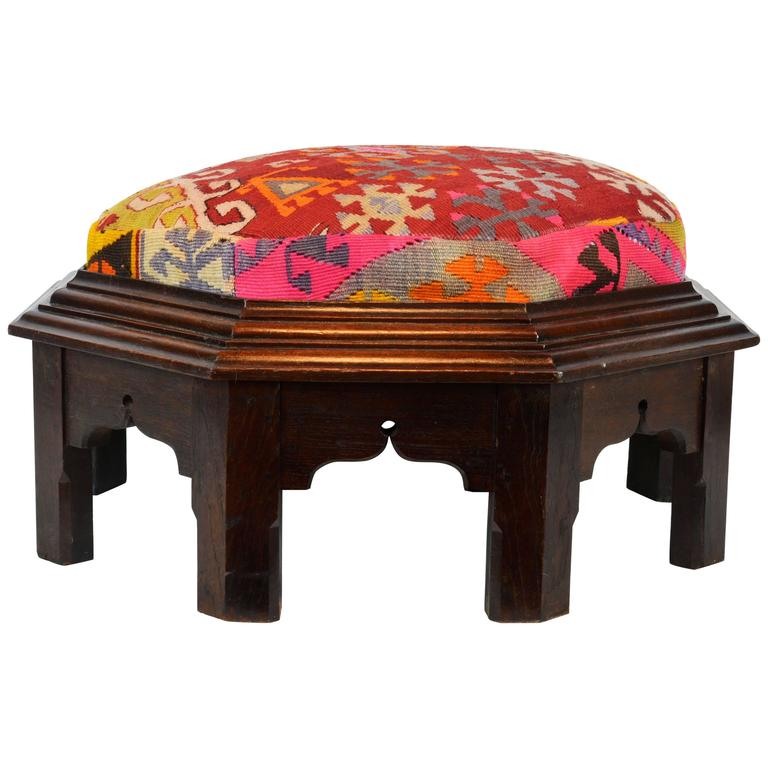 Upholstered Oriental Style Octagonal Ottoman with Colorful Anatolian Kilim Cover For Sale