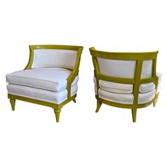 Pair of Slipper Chairs in Chartreuse
