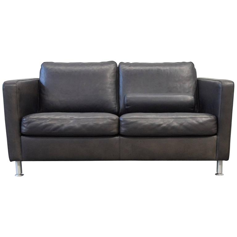 Machalke Saddle Leather Two-Seat Couch Brown Black 1