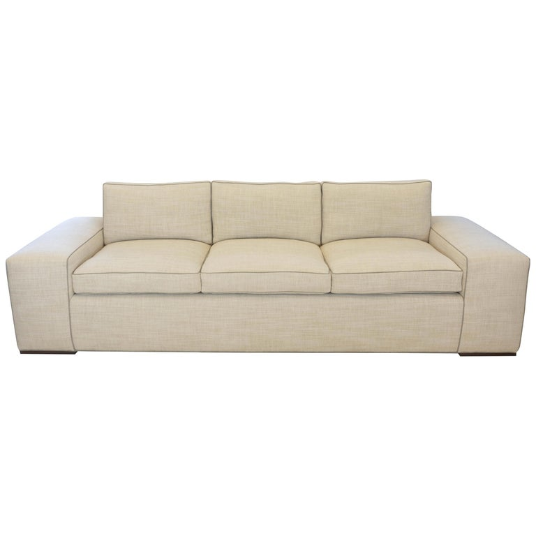 Contemporary Square Arm Sofa with Loose Cushions For Sale
