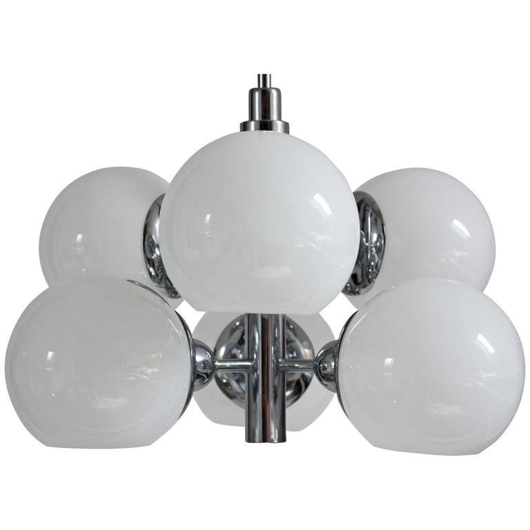 Sputnik Mid-Century Modern Chandelier Glass and Chrome