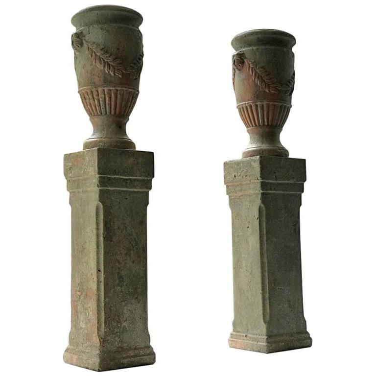 French Pair of Terracotta Urns on Plinths, 19th Century 1