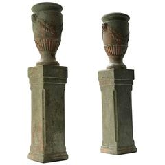 Pair of French Painted Terracotta Urns on Plinths, 19th Century