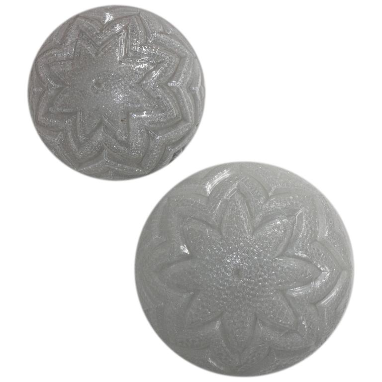 Pair of Textured Glass Flush Mounts, Germany, circa 1960s