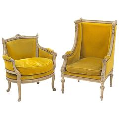 19th Century Louis XVI Painted Bergère and Marquise from France