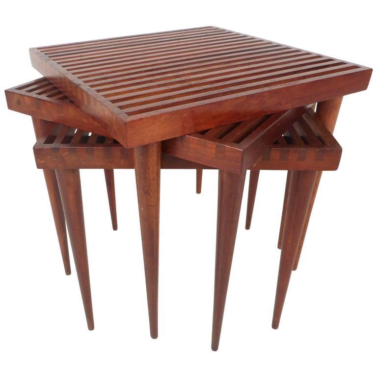 Unique Set of Three Mid-Century Modern Walnut Slat Top Nesting Tables