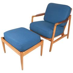 Mid-Century Modern Lounge Chair and Ottoman by France and Daverkosen