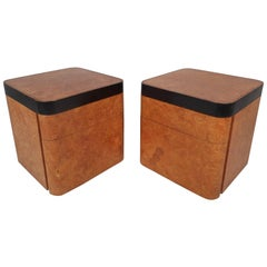 Mid-Century Modern Burl Nightstands by Milo Baughman for Thayer Coggin