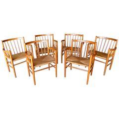 Set of Six, 1950s Danish Oak Dining Armchairs by Jørgen Bækmark for Fdm Møbler