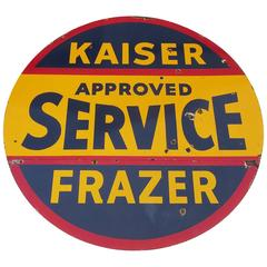Kaiser / Frazer Automobiles Porcelain Enamel Double Sided Service Sign