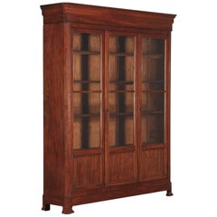 Louis Philippe Period Walnut Three-Door Bookcase, 1830s