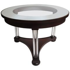 Art Deco Side Table with Glass and Steel Legs