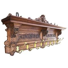 Large Antique and Quality Carved Wooden and Cast Bronze Wall Coat Rack with Lion