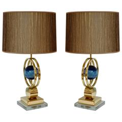 Italian Modern Pair of Brass Lamps with Whole Round Agate Stones in Blue Tones
