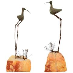 Pair of Bird and Grass Bronze Sculpture on Rocks by C. Jere
