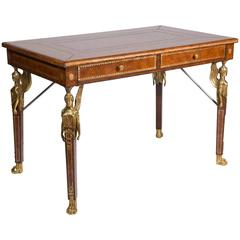 Gilt Tooled Leather Two-Drawer Desk by Maitland Smith