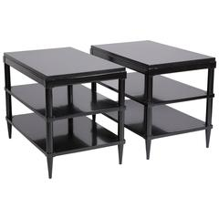 Pair of Black Lacquered Three-Tier End Tables
