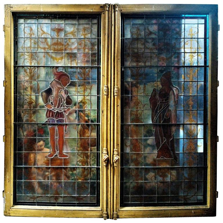Renaissance Revival Stained Glass Framed Double Window, Paris, 19th Century  For Sale