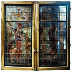 Renaissance Revival Stained Glass Framed Double Window, Paris, 19th Century