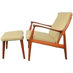 Horsnaes Teak Lounge Chair and Ottoman by Erik Kollig Andersen & Palle Pederse
