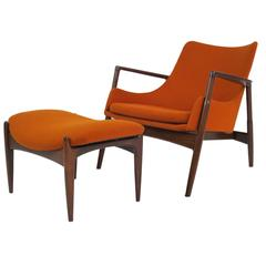 Rare Ib Kofod-Larsen Lounge Chair and Ottoman for Selig