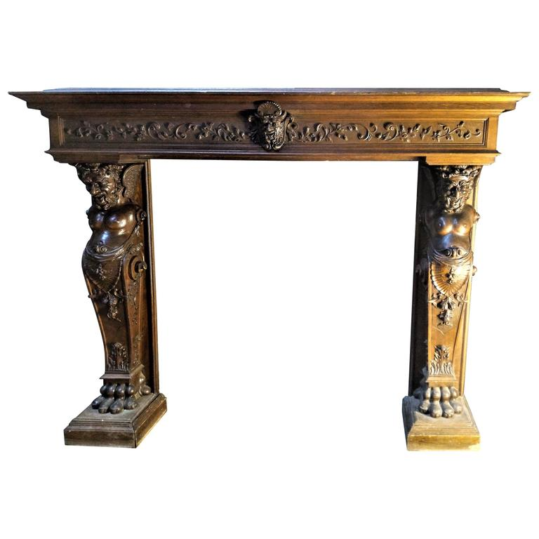 Large Renaissance Revival Fireplace in Hand-Carved Walnut, France, 19th Century