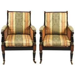 Regency Black and Gold Rosewood and Brass Inlaid Bergeres