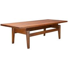 Danish American Studio Craft Risom Long Floating Top Walnut Coffee Table Bench