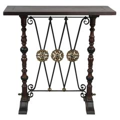 1920s Spanish Revival Console Table with Bronze Medallions