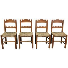 1930s Set of Four Coronado Chairs with Rush Seat