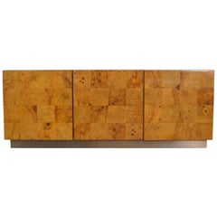 Floating Bar or Console in Burl Wood by Milo Baughman, Wall Mounted