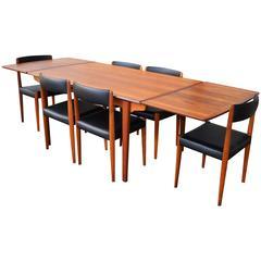 Danish Dining Set by Hp Hansen & Fritz Hansen with Unique Triangular Legs