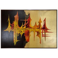 """Large Modern Abstract Oil on Canvas """"Sound Wave"""" by Carlo of Hollywood"""