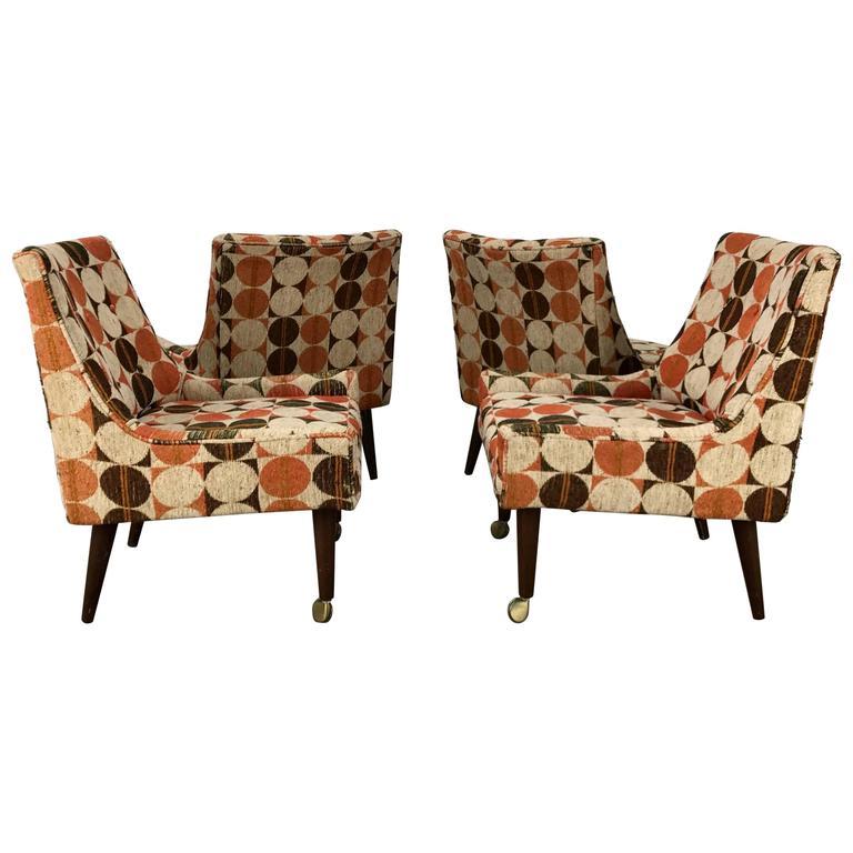 Set of Four Modernist Slipper Chairs in Manner of Harvey Probber, Larsen Fabric