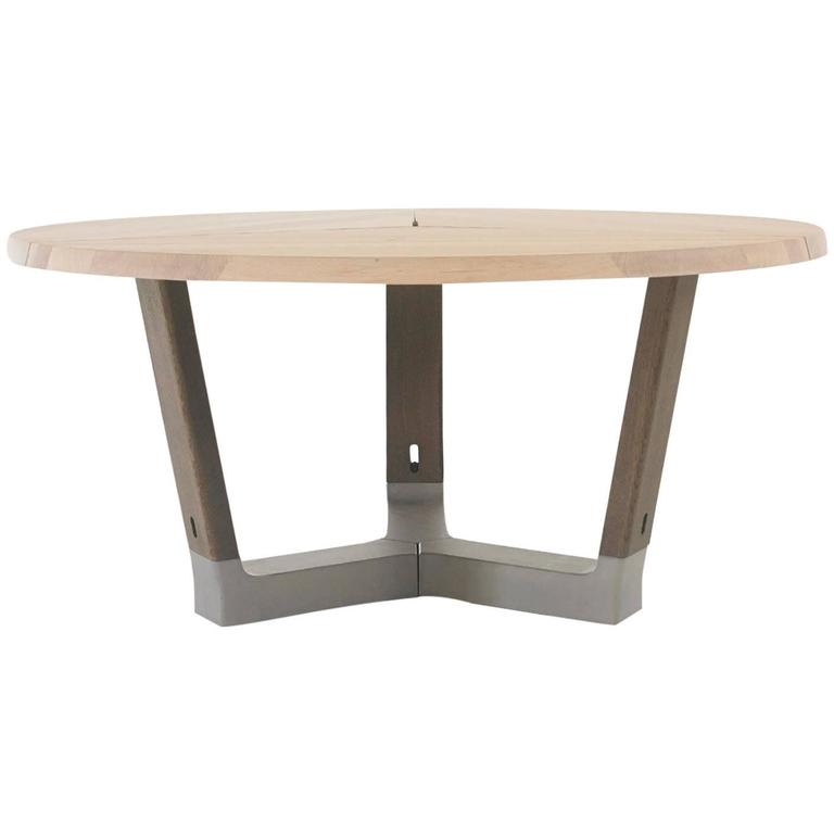 ARCO Base Round Dining Table in Solid Wood with Concrete Detail