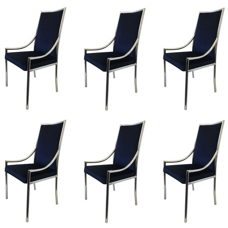 Superieur Set Of Six Chrome And Royal Blue Velvet Dining Chair Attributed To Pierre  Cardin For Sale