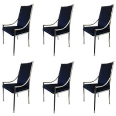 Set of Six Chrome and Royal Blue Velvet Dining Chair Attributed to Pierre Cardin