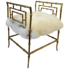 Gilded Faux Bamboo and Sheepskin Stool