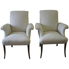 Pair of Art Deco Style Linen Upholstered French Chairs