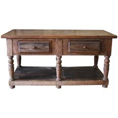 19th Century Antique French Drapers Table with Drawers
