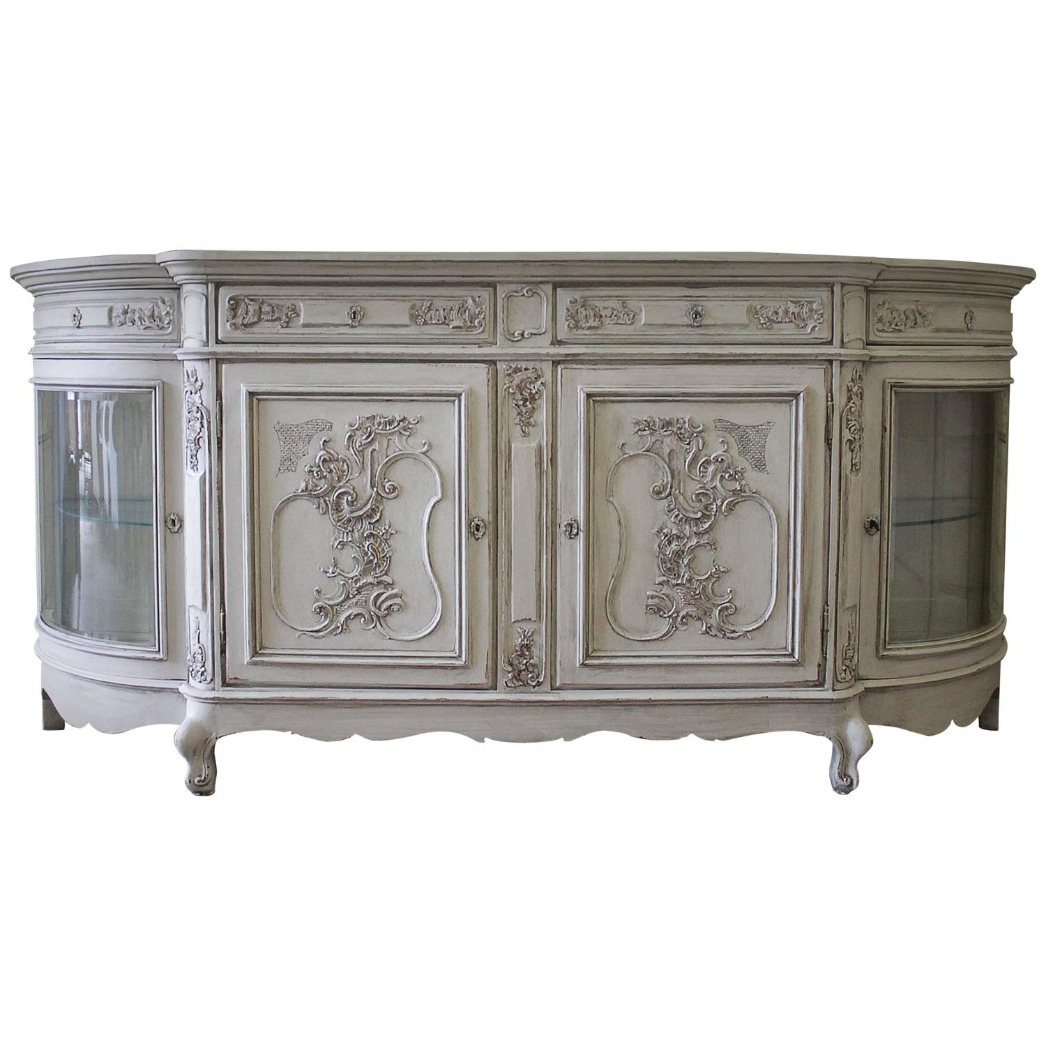 Antique glass flower carvings sideboard crown french furniture - Antique Glass Flower Carvings Sideboard Crown French Furniture 45