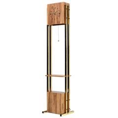Modern Grandfather Clock, Brass and Faux Wood Grain Laminate