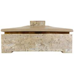 Mid-Century Modern Tessellated Stone and Brass Box Attributed to Maitland-Smith